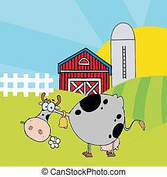vache, pâquerette, tacheté, gris, manger