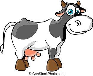 vache, tacheté, caractère, sourire, dessin animé
