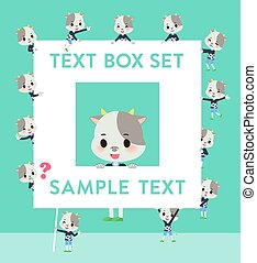 vache, texte, garçon, boîte, animal
