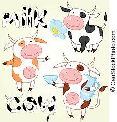 vaches, rigolote, vecteur, collection