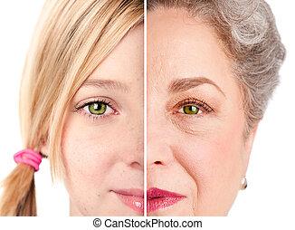 vacker, åldras, ansikte, ögon