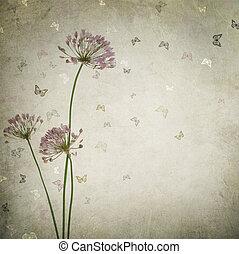 vacker, årgång, blommig, bakgrund