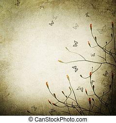 vacker, årgång, gräns, blommig