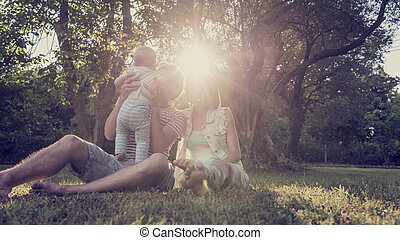 vacker, ögonblick, familj