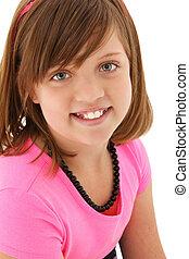 vacker, 10, gammalt år, flicka