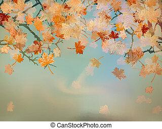 vacker, 10, kort, eps, tacksägelse, leaves., lönn
