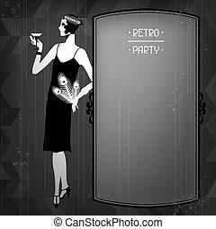 vacker, 1920s, retro, bakgrund, fest flicka, style.
