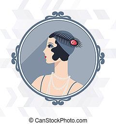 vacker, 1920s, retro, bakgrund, flicka, style.