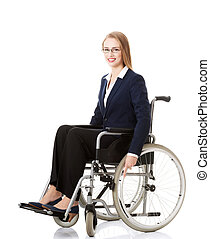 vacker, affärskvinna, wheelchair., sittande