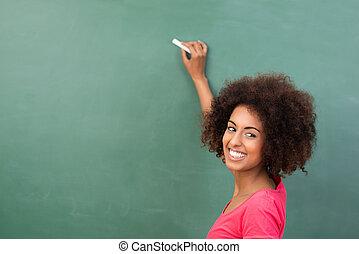 vacker, afrikansk amerikan, student, eller, lärare