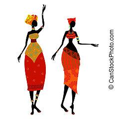 vacker, afrikansk kvinna, in, traditionell dräkt