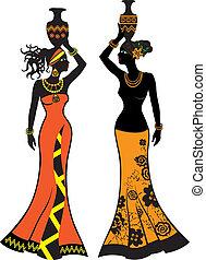 vacker, afrikansk kvinna, med, vaser