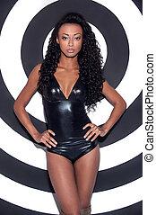 vacker, afroamerikansk, mode, avrivet, göra, ung, mot, uppe, glamour, kvinna, framställ, model., bakgrund, frisyr