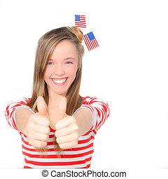 vacker, amerikan, ung kvinna, fira, 4 av juli, med, flagga