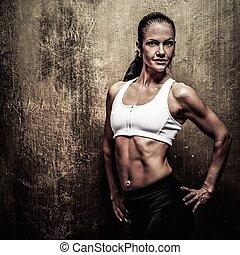 vacker, atletisk, kvinna, hantlar