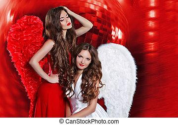 vacker, attraktiv, damen, med, ängel vinge, över, diskot...