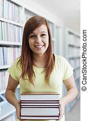 vacker, böcker, bibliotek, student, holdingen