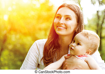 vacker,  baby, utomhus, mor, natur