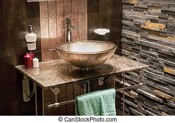 vacker, badrum, nymodig, lyxvara, nytt hem