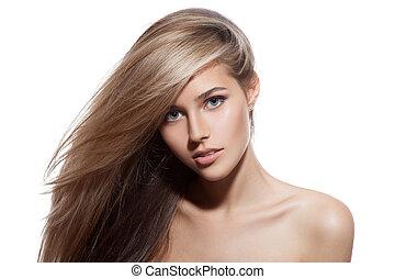vacker, bakgrund, hälsosam, länge, girl., blond, hair., vit