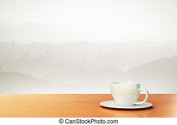 vacker, bakgrund, med, kaffe kopp, och, plats, för, din, text