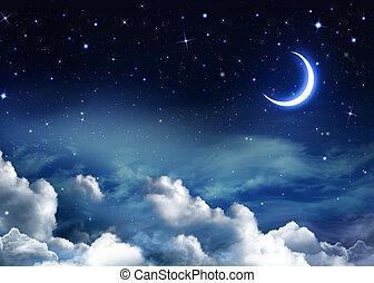 vacker, bakgrund, nightly, sky