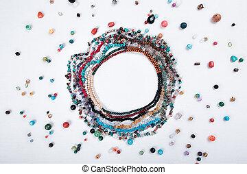 vacker, bakgrund., vit, handgjord, smycken
