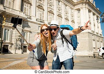 vacker, bild, turist, besökande, deltagare, selfie, utbyte, lov, tagande, vänner, par, spanien