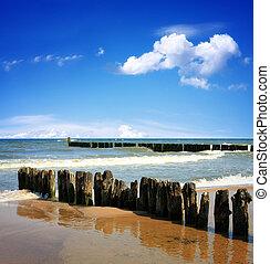 vacker, blå, hav