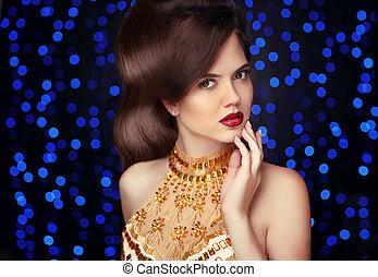 vacker, blå, kvinna, smycken, skönhet, elegant, över, makeup., guld, lyse, bakgrund., mode, brunett, attraktiv, hairstyle., close-up., parti, dam, dyrt, make