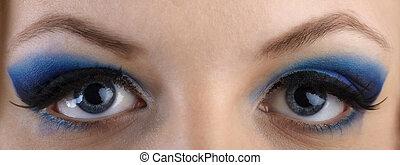 vacker, blå, närbild, ögon, eye-zone, smink, stående, skuggor, flicka