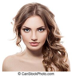 vacker, blå, närbild, kvinna, ung, stående, ögon, caucasian