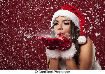 vacker, blåsning, snöflingor, claus, kvinna, jultomten