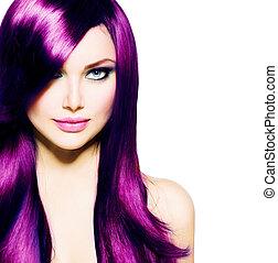 vacker, blått synar, hälsosam, långt hår, purpur, flicka
