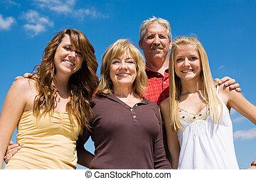 vacker, blåttsky, familj, &