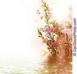 vacker, blom- gränsa