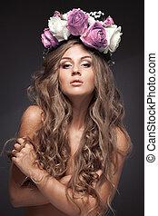 vacker, blomma, hälsosam, länge, hair., woman.
