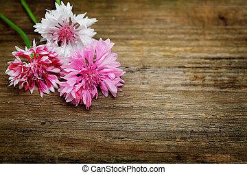vacker, blomma, suddig, Trä, bakgrund, bord, blommig, Blomstrar