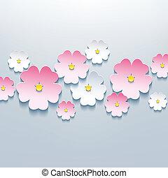 vacker, blommig, grå fond, med, 3, blomma, sakura