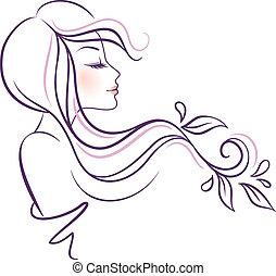 vacker, blommig, kvinna