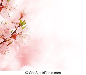 vacker, blomningen, gräns