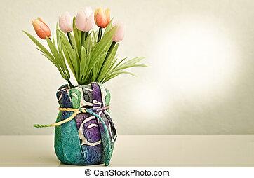 vacker, Blomstrar, stil, kruka,  retro