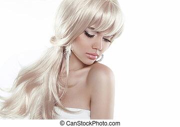 vacker, blond, flicka, med, långt hår, isolerat, vita, bakgrund