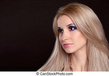 vacker, blond, girl., hälsosam, långt hår
