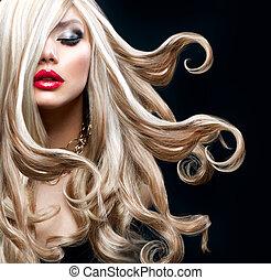 vacker, blond, hair., sexig, blondin, flicka