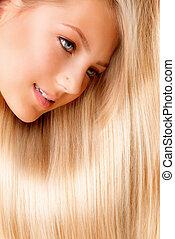 vacker, blond, länge, hair., blondin, flicka, närbild, stående