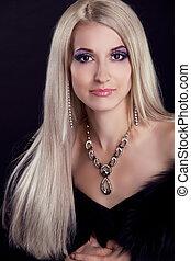 vacker, blond, långt hår, kvinna svarting, bakgrund, stående...