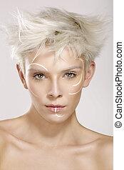 vacker, blond, modell, tröttsam, elegant, artistisk, smink