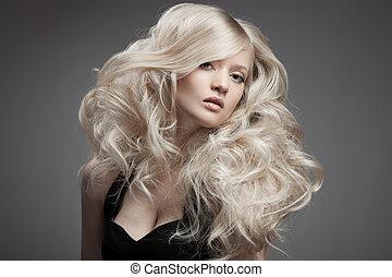 vacker, blond, woman., lockig, långt hår
