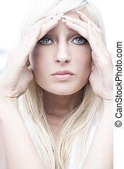 vacker, blondin, framställ